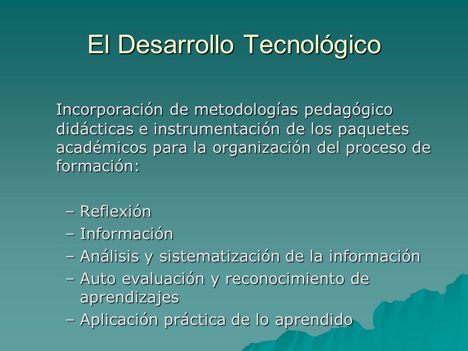 El Desarrollo Tecnológico Incorporación de metodologías pedagógico didácticas e instrumentación de los paquetes académicos para la organización del pr