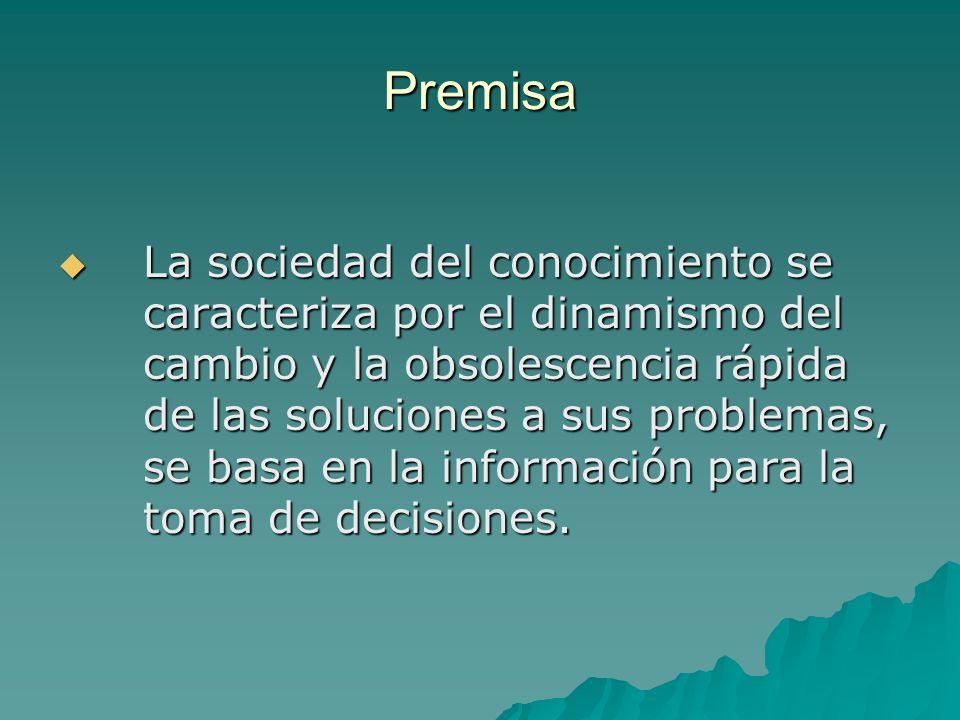 Premisa La sociedad del conocimiento se caracteriza por el dinamismo del cambio y la obsolescencia rápida de las soluciones a sus problemas, se basa e
