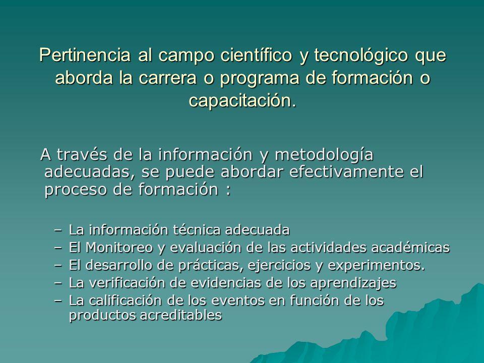 Pertinencia al campo científico y tecnológico que aborda la carrera o programa de formación o capacitación. A través de la información y metodología a