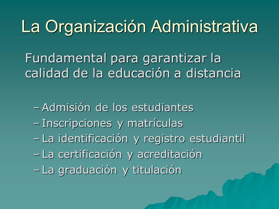 La Organización Administrativa Fundamental para garantizar la calidad de la educación a distancia –Admisión de los estudiantes –Inscripciones y matríc