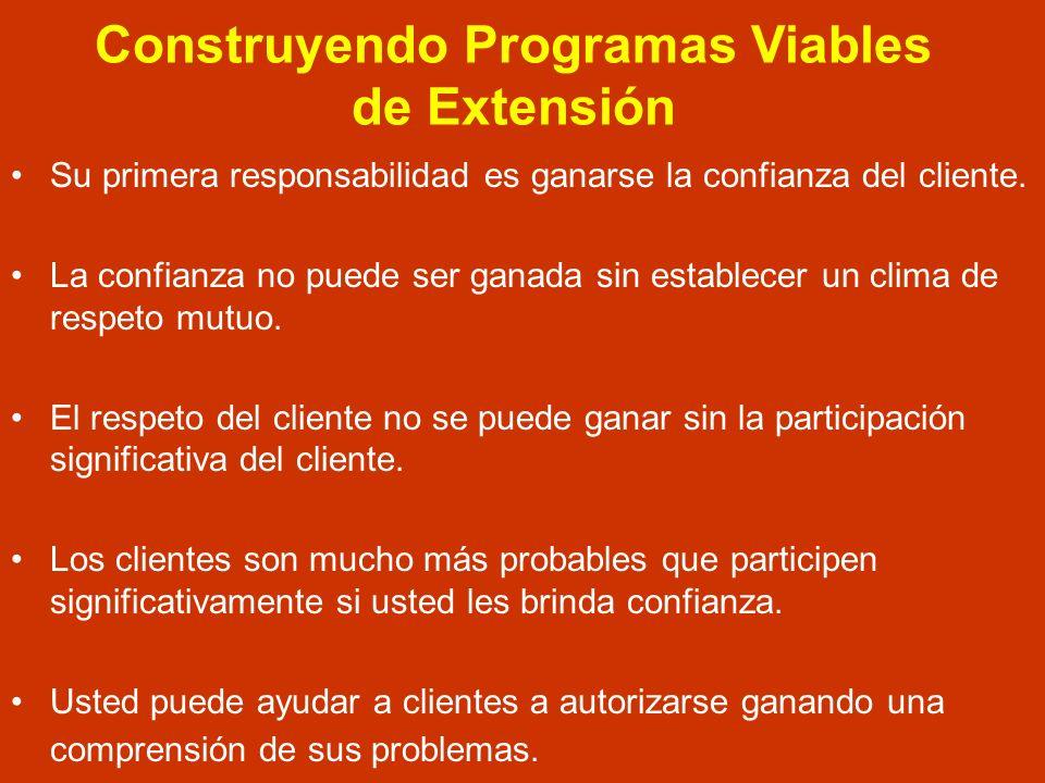Construyendo Programas Viables de Extensión RESPETO + COMPRENSION + PARTICIPACION + CONOCIMIENTO CONFIANZA DEL CLIENTE