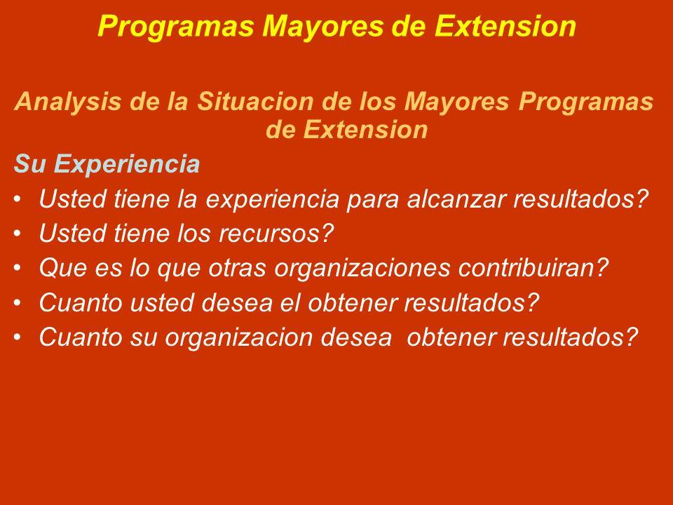 Programas Mayores de Extension Analysis de la Situacion de los Mayores Programas de Extension Su Experiencia Usted tiene la experiencia para alcanzar resultados.