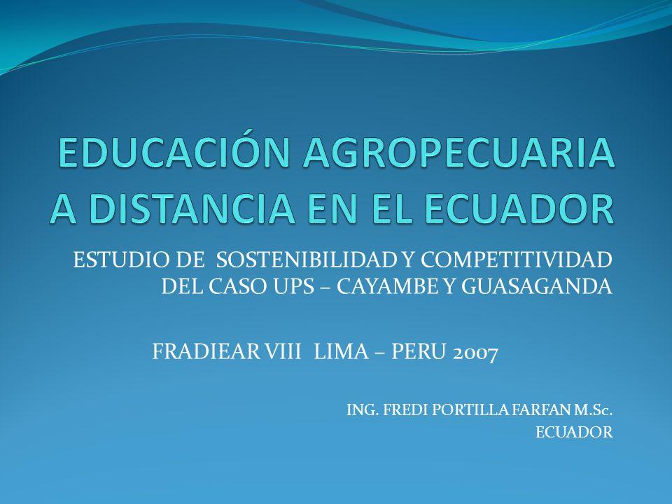 ESTUDIO DE SOSTENIBILIDAD Y COMPETITIVIDAD DEL CASO UPS – CAYAMBE Y GUASAGANDA FRADIEAR VIII LIMA – PERU 2007 ING. FREDI PORTILLA FARFAN M.Sc. ECUADOR