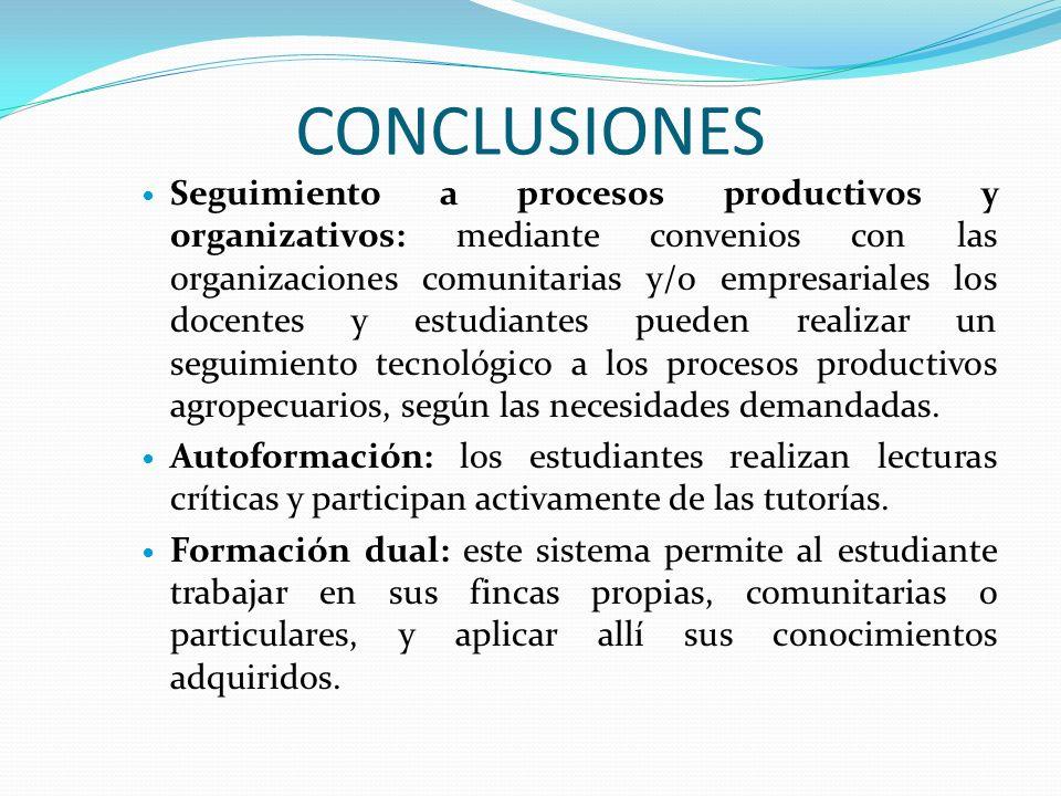 CONCLUSIONES Seguimiento a procesos productivos y organizativos: mediante convenios con las organizaciones comunitarias y/o empresariales los docentes y estudiantes pueden realizar un seguimiento tecnológico a los procesos productivos agropecuarios, según las necesidades demandadas.