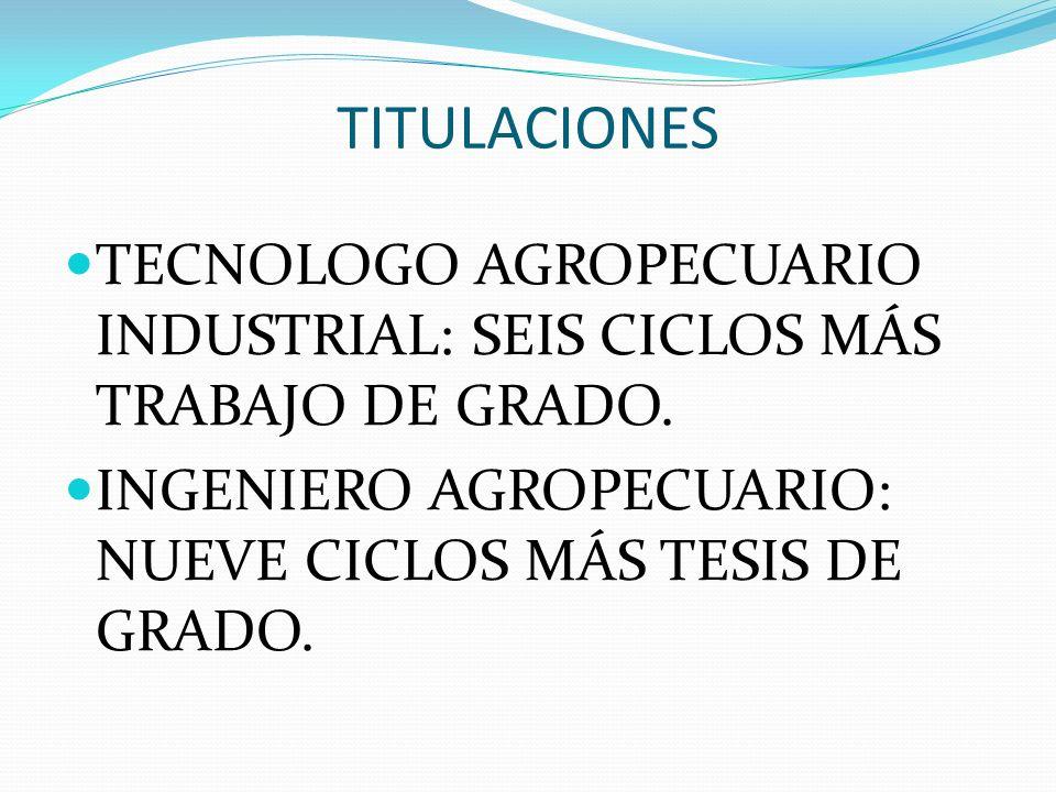 TITULACIONES TECNOLOGO AGROPECUARIO INDUSTRIAL: SEIS CICLOS MÁS TRABAJO DE GRADO. INGENIERO AGROPECUARIO: NUEVE CICLOS MÁS TESIS DE GRADO.