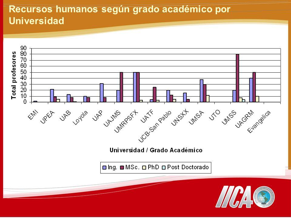 Recursos humanos según grado académico por Universidad