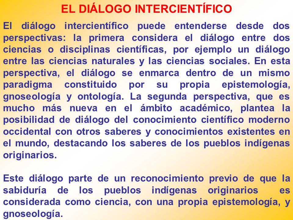 EL DIÁLOGO INTERCIENTÍFICO El diálogo intercientífico puede entenderse desde dos perspectivas: la primera considera el diálogo entre dos ciencias o di