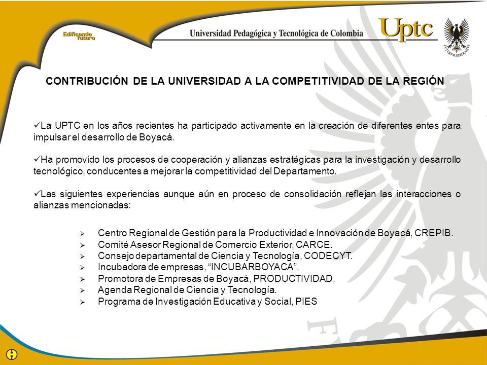 La UPTC en los años recientes ha participado activamente en la creación de diferentes entes para impulsar el desarrollo de Boyacá. Ha promovido los pr