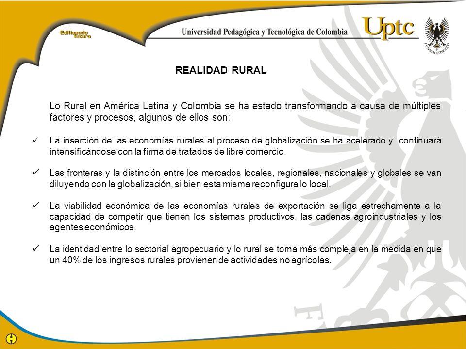 Lo Rural en América Latina y Colombia se ha estado transformando a causa de múltiples factores y procesos, algunos de ellos son: La inserción de las e