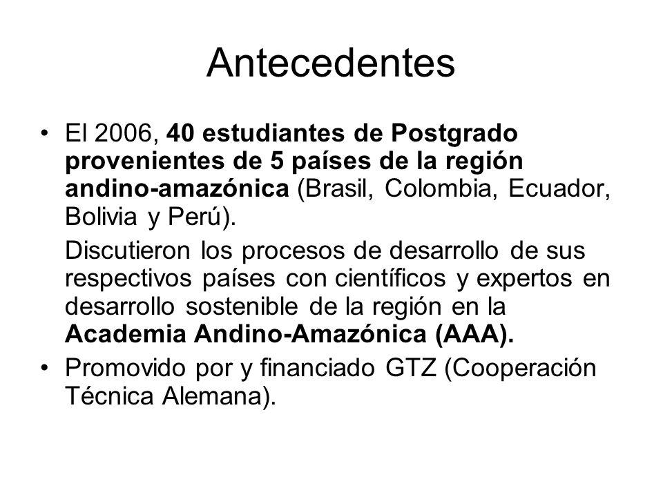 Antecedentes El 2006, 40 estudiantes de Postgrado provenientes de 5 países de la región andino-amazónica (Brasil, Colombia, Ecuador, Bolivia y Perú).