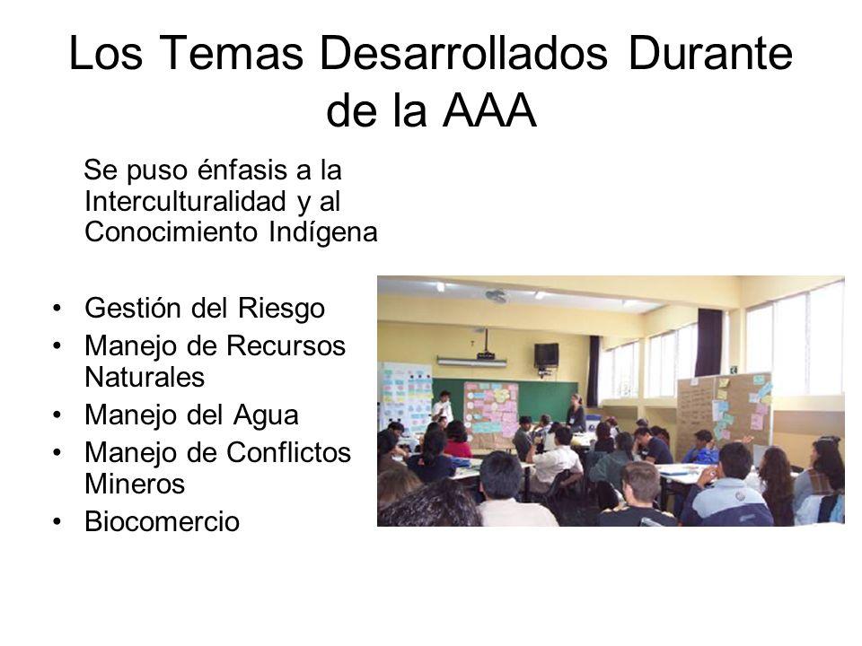 Los Temas Desarrollados Durante de la AAA Se puso énfasis a la Interculturalidad y al Conocimiento Indígena Gestión del Riesgo Manejo de Recursos Naturales Manejo del Agua Manejo de Conflictos Mineros Biocomercio