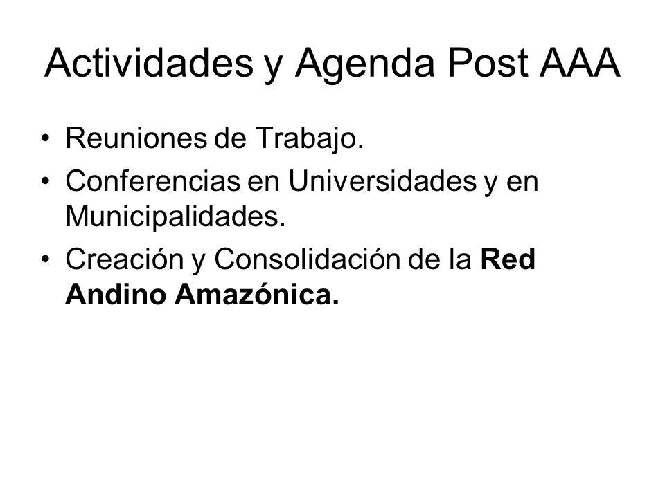 Actividades y Agenda Post AAA Reuniones de Trabajo.