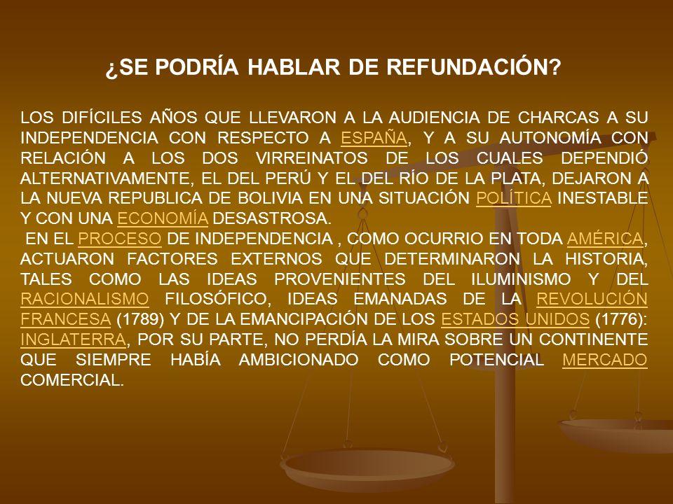 ¿SE PODRÍA HABLAR DE REFUNDACIÓN? LOS DIFÍCILES AÑOS QUE LLEVARON A LA AUDIENCIA DE CHARCAS A SU INDEPENDENCIA CON RESPECTO A ESPAÑA, Y A SU AUTONOMÍA