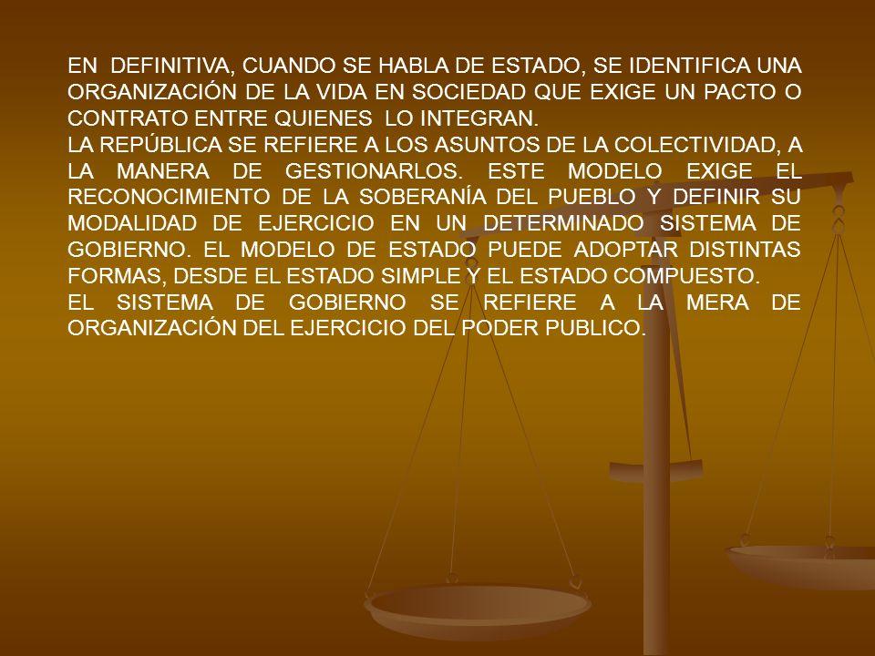 EN DEFINITIVA, CUANDO SE HABLA DE ESTADO, SE IDENTIFICA UNA ORGANIZACIÓN DE LA VIDA EN SOCIEDAD QUE EXIGE UN PACTO O CONTRATO ENTRE QUIENES LO INTEGRA