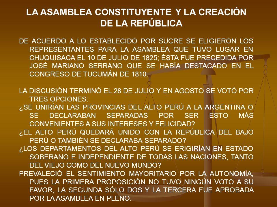 LAS PROVINCIAS DEL ALTO PERÚ FIRMES Y UNÁNIMES EN TAN JUSTAS Y MAGNÁNIME RESOLUCIÓN, PROTESTAN ANTE LA FAZ DE LA TIERRA ENTERA QUE SU VOLUNTAD IRREVOCABLE ES GOBERNARSE POR SI MISMAS Y SER REGIDAS POR LA CONSTITUCIÓN, LEYES Y AUTORIDADES QUE ELLAS PROPIAS SE DIESE Y CREYESE MÁS CONDUCENTE A SU FUTURA FELICIDAD LA TIERRALEYES EL ACTA SE FIRMÓ EL 6 DE AGOSTO DE 1825 EN CONMEMORACIÓN DE LA BATALLA DE JUNÍN.