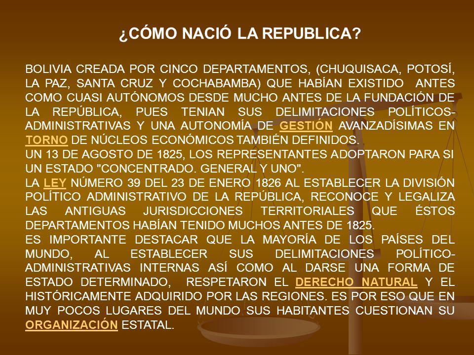 ESTO NO SUCEDIÓ EN BOLIVIA, PUES LOS QUE DISEÑARON LA ORGANIZACIÓN ESTATAL NO RESPETARON LA DIVISIÓN POLÍTICA AUTÓNOMA DE LAS REGIONES CLARAMENTE IDENTIFICADAS CON SUS PARTICULARIDADES GEOGRÁFICAS, POLÍTICAS, SOCIALES Y ECONÓMICAS.POLÍTICAS LAS PERSONAS QUE INFLUYERON DIRECTAMENTE EN EL DISEÑO POLÍTICO-ECONÓMICO-ADMINISTRATIVO DE ESTE PAÍS, FUERON OCCIDENTALES (CON UNA VISIÓN ALTOPERUANA; OLAÑETA, URCULLU Y SERRANO) QUE TENÍAN UNA VISIÓN DISTINTA A LA DE LOS LLANOS, ORIENTE Y EL CHACO BOLIVIANO.