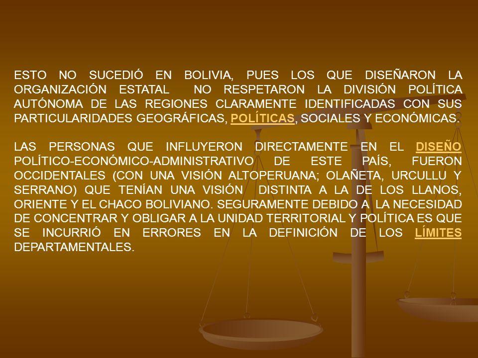 ESTO NO SUCEDIÓ EN BOLIVIA, PUES LOS QUE DISEÑARON LA ORGANIZACIÓN ESTATAL NO RESPETARON LA DIVISIÓN POLÍTICA AUTÓNOMA DE LAS REGIONES CLARAMENTE IDEN