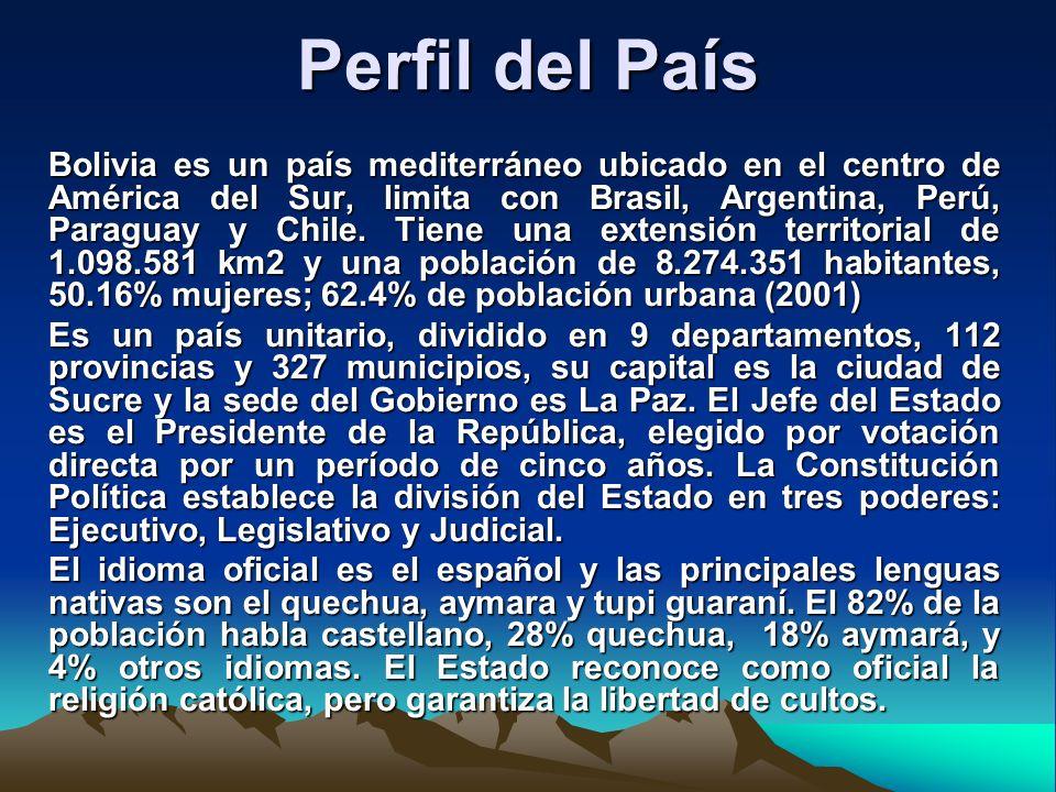 Perfil del País Bolivia es un país mediterráneo ubicado en el centro de América del Sur, limita con Brasil, Argentina, Perú, Paraguay y Chile. Tiene u
