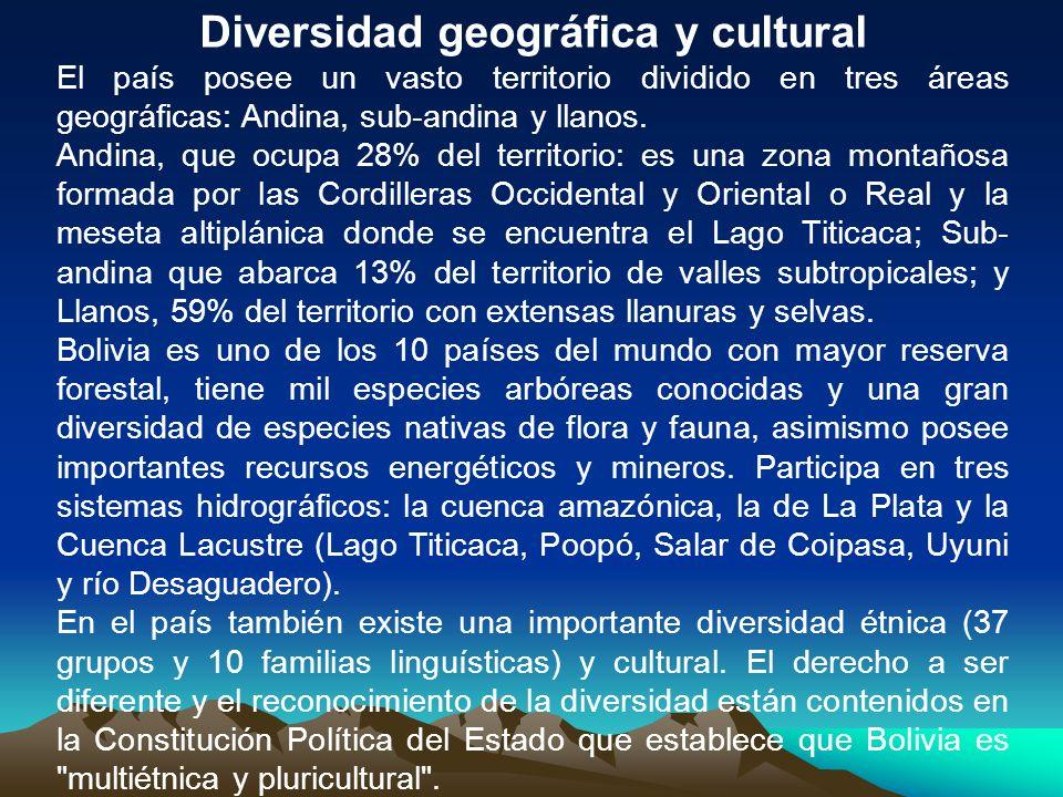 Diversidad geográfica y cultural El país posee un vasto territorio dividido en tres áreas geográficas: Andina, sub-andina y llanos. Andina, que ocupa