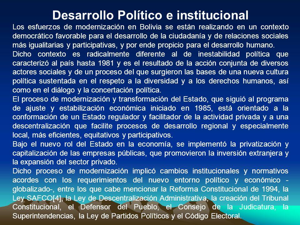 Desarrollo Político e institucional Los esfuerzos de modernización en Bolivia se están realizando en un contexto democrático favorable para el desarro