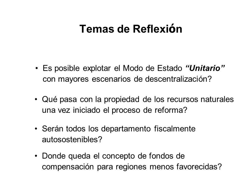 Temas de Reflexi ó n Es posible explotar el Modo de Estado Unitario con mayores escenarios de descentralización? Qué pasa con la propiedad de los recu