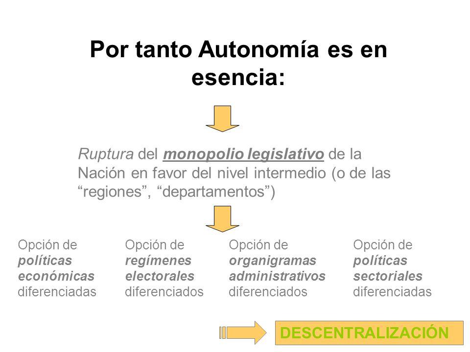 Por tanto Autonomía es en esencia: Opción de políticas económicas diferenciadas DESCENTRALIZACIÓN Opción de organigramas administrativos diferenciados