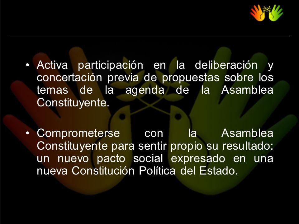 Activa participación en la deliberación y concertación previa de propuestas sobre los temas de la agenda de la Asamblea Constituyente.