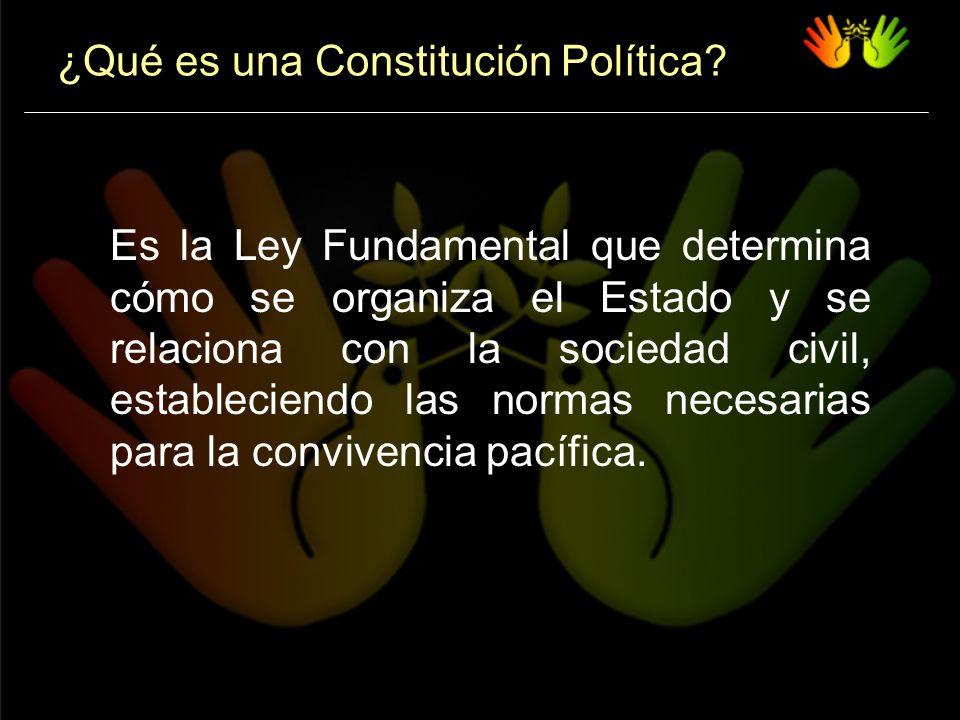 Toda Constitución Política: Establece el tipo de organización política del Estado, la división de poderes, el alcance de sus potestates, sus atribuciones y su funcionamiento.