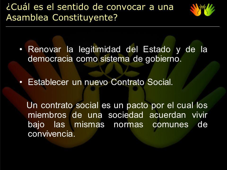Renovar la legitimidad del Estado y de la democracia como sistema de gobierno.