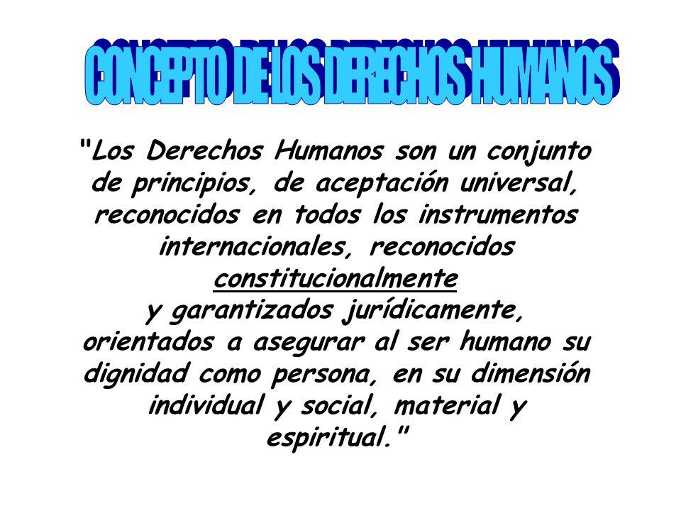 Los Derechos Humanos son un conjunto de principios, de aceptación universal, reconocidos en todos los instrumentos internacionales, reconocidos constitucionalmente y garantizados jurídicamente, orientados a asegurar al ser humano su dignidad como persona, en su dimensión individual y social, material y espiritual.
