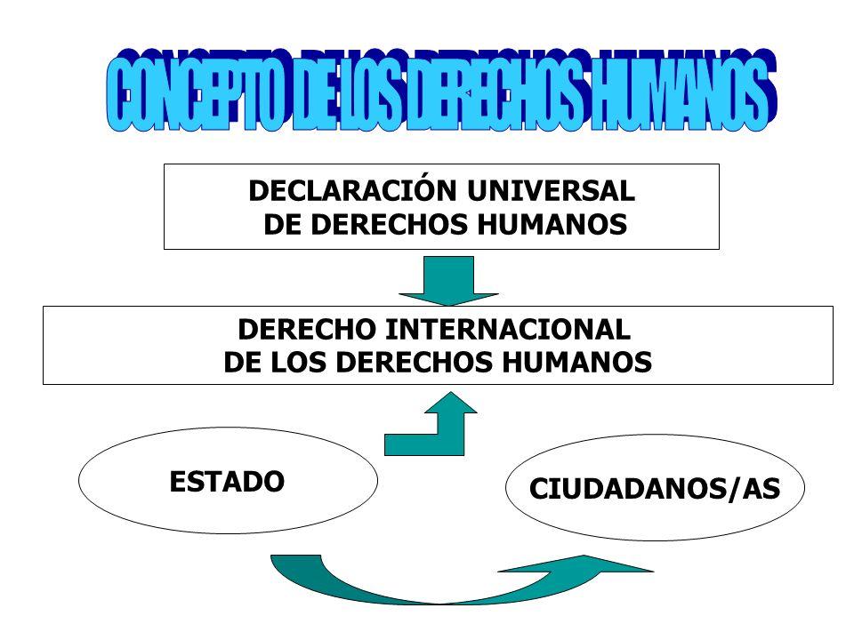DECLARACIÓN UNIVERSAL DE DERECHOS HUMANOS DERECHO INTERNACIONAL DE LOS DERECHOS HUMANOS ESTADO CIUDADANOS/AS