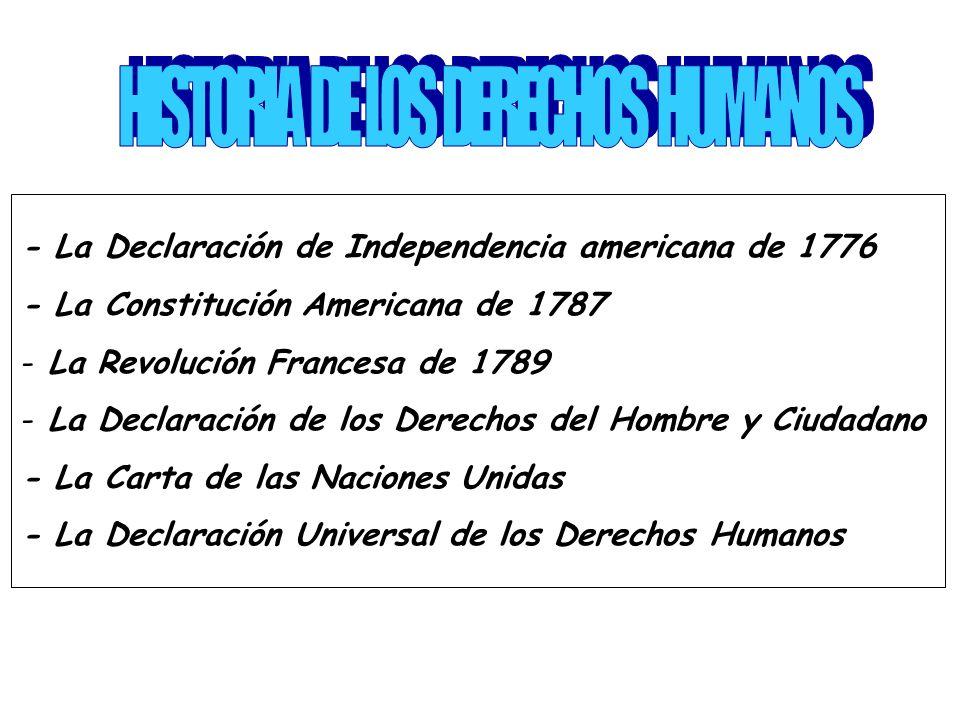 - La Declaración de Independencia americana de 1776 - La Constitución Americana de 1787 - La Revolución Francesa de 1789 - La Declaración de los Derechos del Hombre y Ciudadano - La Carta de las Naciones Unidas - La Declaración Universal de los Derechos Humanos