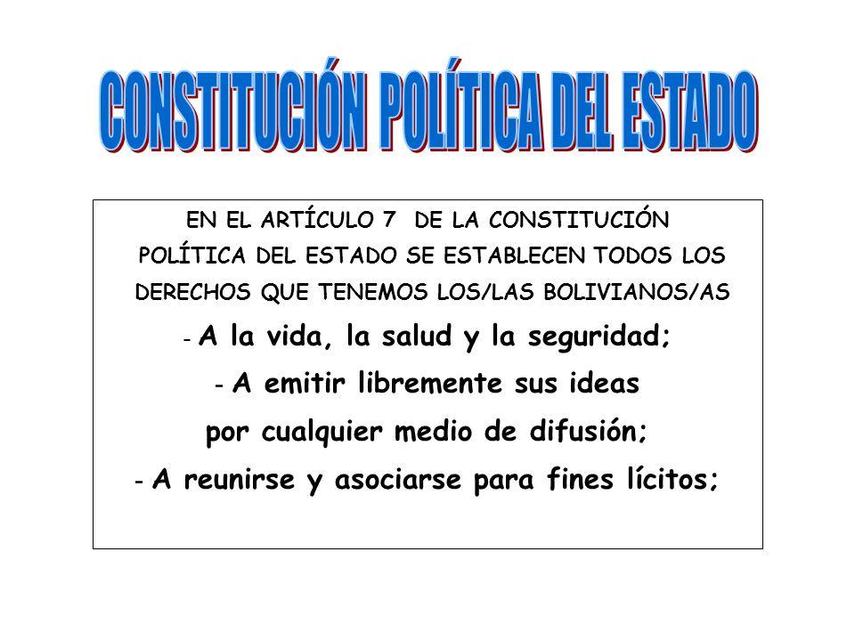 EN EL ARTÍCULO 7 DE LA CONSTITUCIÓN POLÍTICA DEL ESTADO SE ESTABLECEN TODOS LOS DERECHOS QUE TENEMOS LOS/LAS BOLIVIANOS/AS - A la vida, la salud y la seguridad; - A emitir libremente sus ideas por cualquier medio de difusión; - A reunirse y asociarse para fines lícitos;