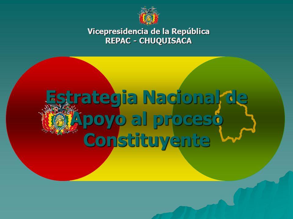 Vicepresidencia de la República REPAC - CHUQUISACA Estrategia Nacional de Apoyo al proceso Constituyente