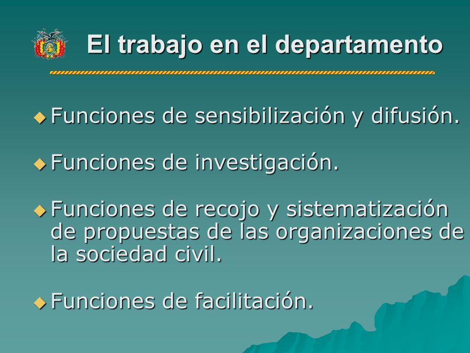 El trabajo en el departamento Funciones de sensibilización y difusión.