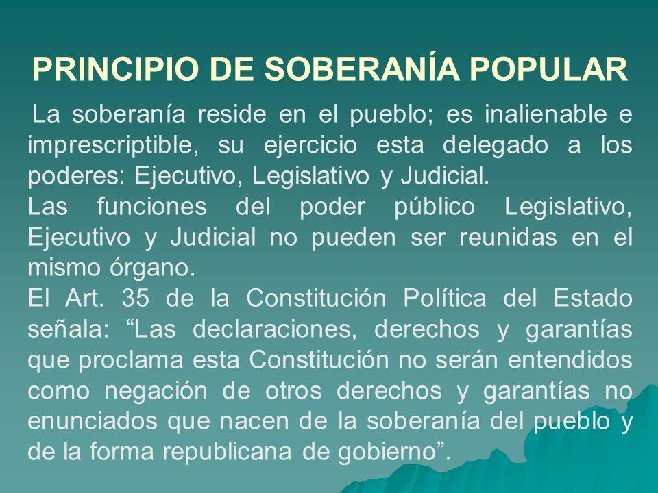 PRINCIPIO DE SOBERANÍA POPULAR La soberanía reside en el pueblo; es inalienable e imprescriptible, su ejercicio esta delegado a los poderes: Ejecutivo