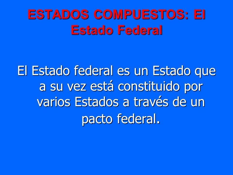 ESTADOS COMPUESTOS: El Estado Federal El Estado federal es un Estado que a su vez está constituido por varios Estados a través de un pacto federal.