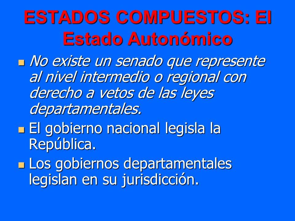 ESTADOS COMPUESTOS: El Estado Autonómico No existe un senado que represente al nivel intermedio o regional con derecho a vetos de las leyes departamen