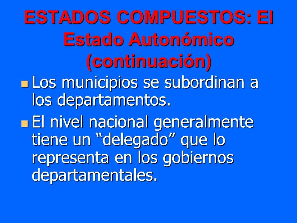 ESTADOS COMPUESTOS: El Estado Autonómico (continuación) Los municipios se subordinan a los departamentos. Los municipios se subordinan a los departame