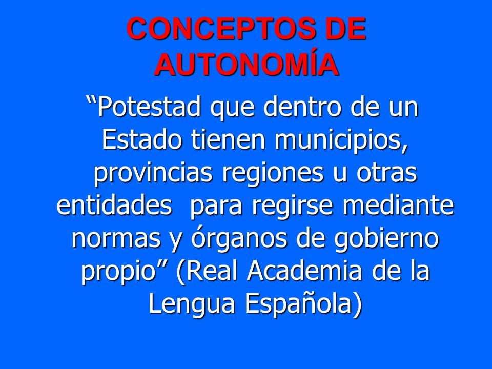 CONCEPTOS DE AUTONOMÍA Potestad que dentro de un Estado tienen municipios, provincias regiones u otras entidades para regirse mediante normas y órgano