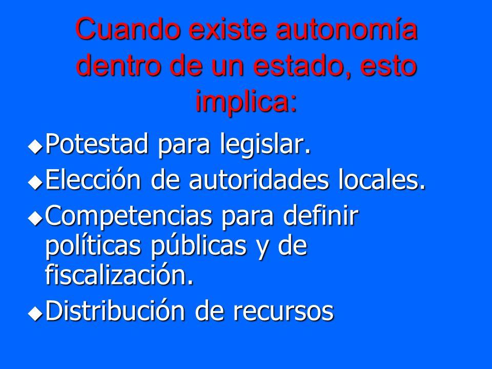 Cuando existe autonomía dentro de un estado, esto implica: Potestad para legislar. Potestad para legislar. Elección de autoridades locales. Elección d