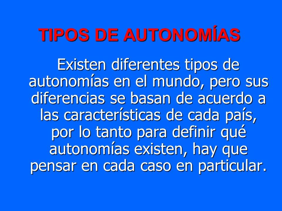 TIPOS DE AUTONOMÍAS Existen diferentes tipos de autonomías en el mundo, pero sus diferencias se basan de acuerdo a las características de cada país, p