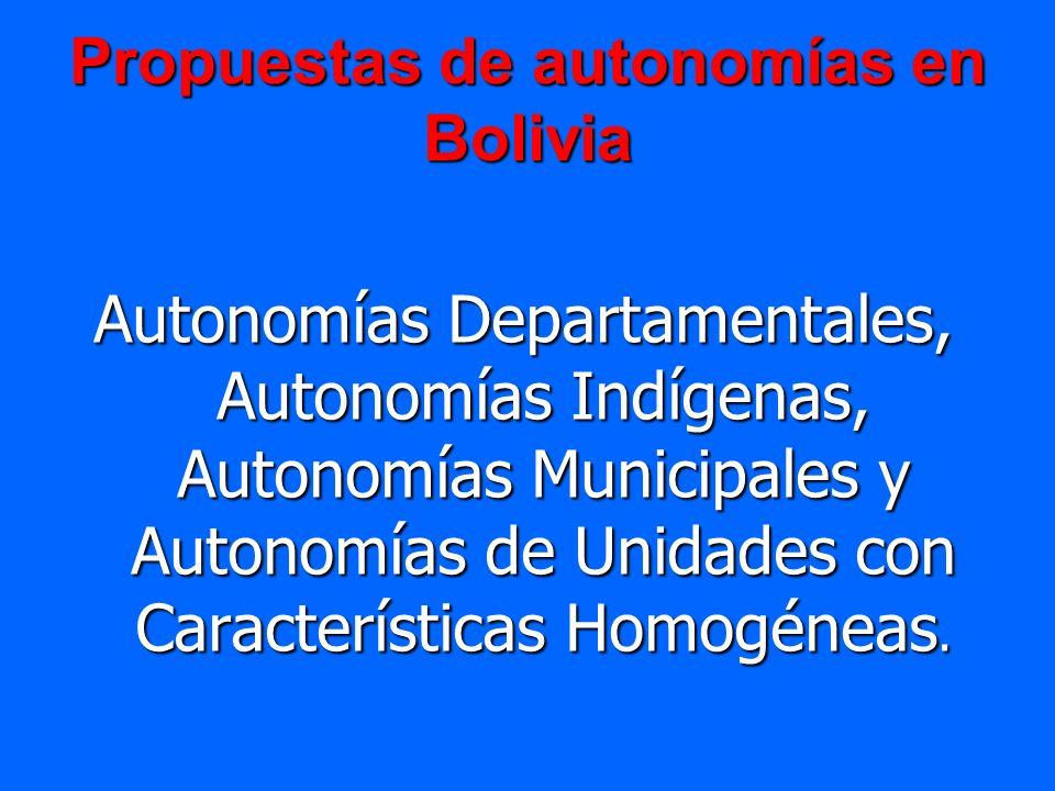 Propuestas de autonomías en Bolivia Autonomías Departamentales, Autonomías Indígenas, Autonomías Municipales y Autonomías de Unidades con Característi