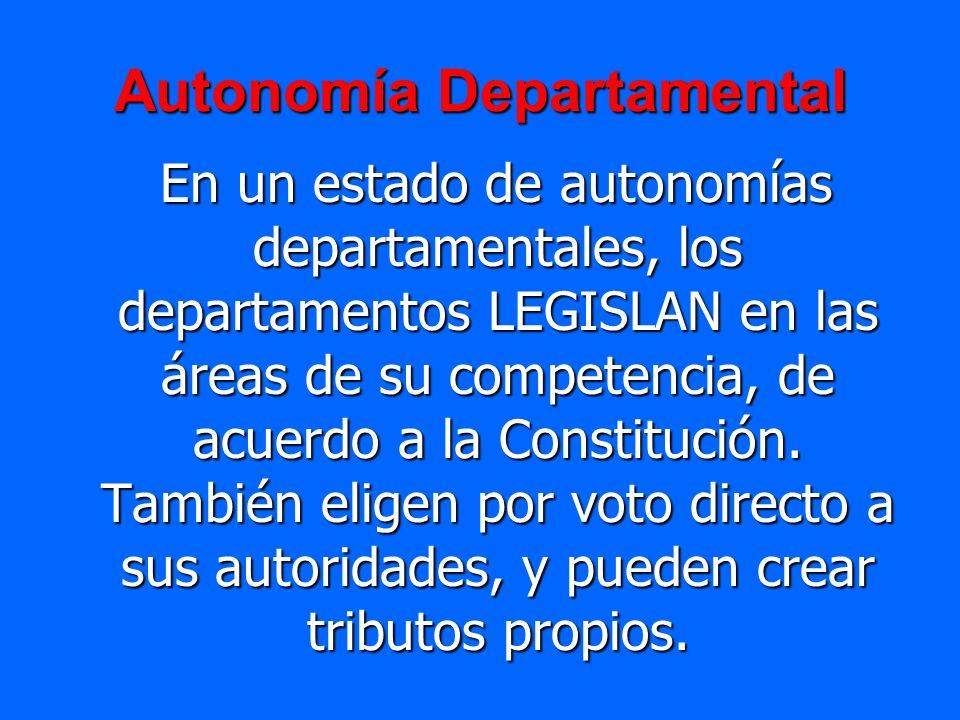Autonomía Departamental En un estado de autonomías departamentales, los departamentos LEGISLAN en las áreas de su competencia, de acuerdo a la Constit