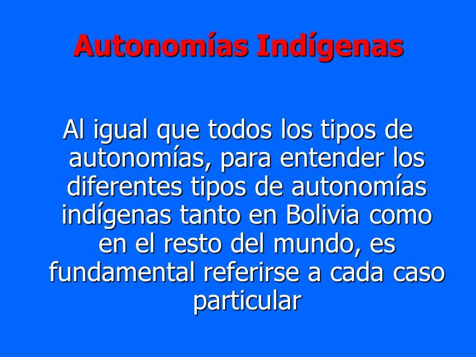 Autonomías Indígenas Al igual que todos los tipos de autonomías, para entender los diferentes tipos de autonomías indígenas tanto en Bolivia como en e