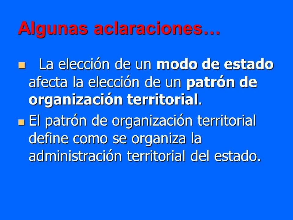 Algunas aclaraciones… La elección de un modo de estado afecta la elección de un patrón de organización territorial. La elección de un modo de estado a