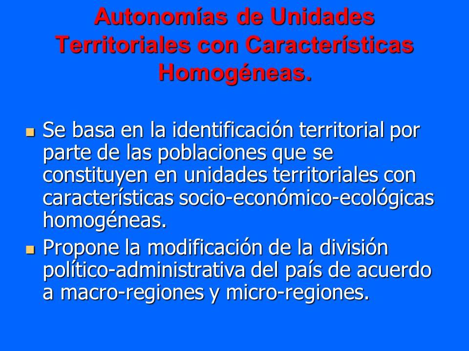 Autonomías de Unidades Territoriales con Características Homogéneas. Se basa en la identificación territorial por parte de las poblaciones que se cons