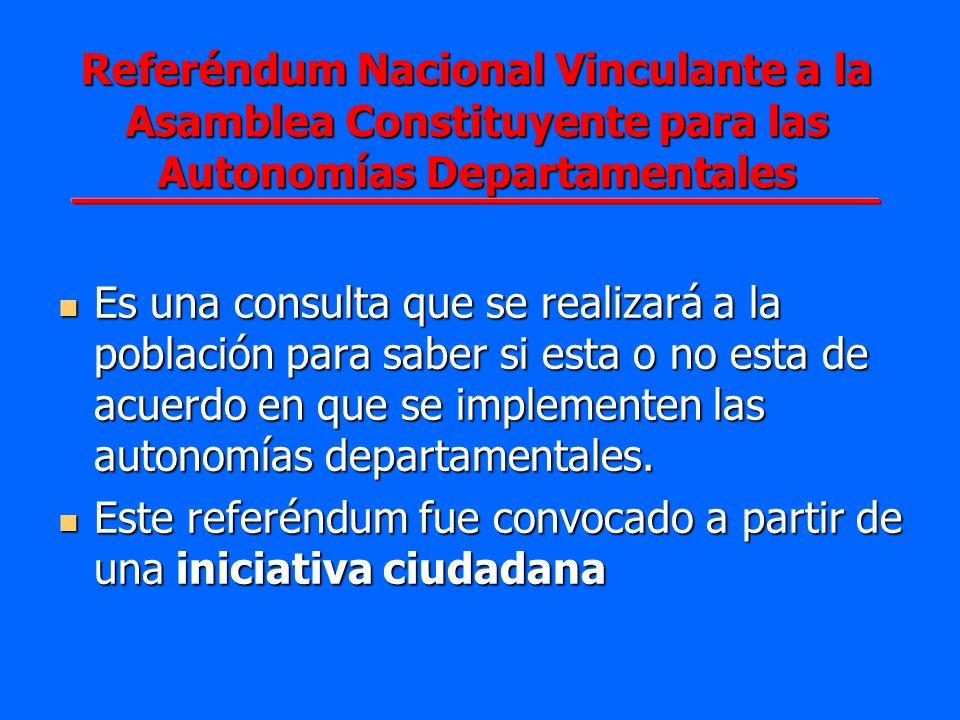 Referéndum Nacional Vinculante a la Asamblea Constituyente para las Autonomías Departamentales Es una consulta que se realizará a la población para sa