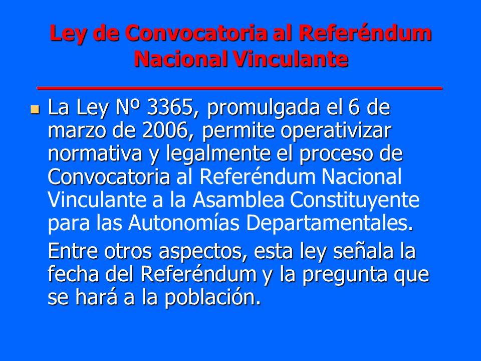 Ley de Convocatoria al Referéndum Nacional Vinculante La Ley Nº 3365, promulgada el 6 de marzo de 2006, permite operativizar normativa y legalmente el