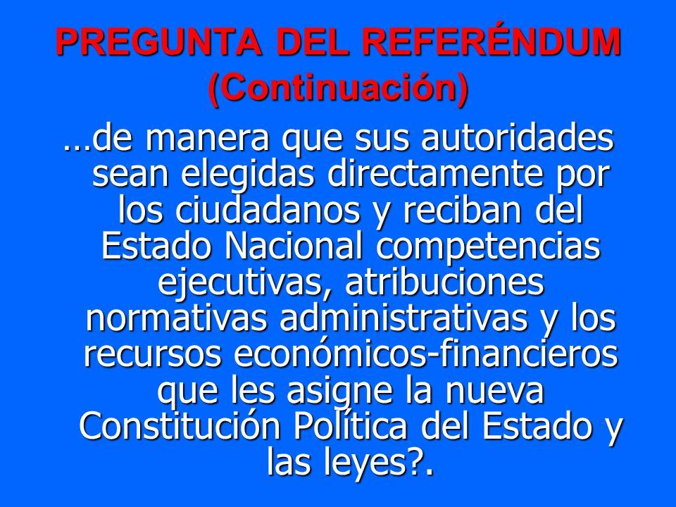 PREGUNTA DEL REFERÉNDUM (Continuación) …de manera que sus autoridades sean elegidas directamente por los ciudadanos y reciban del Estado Nacional comp